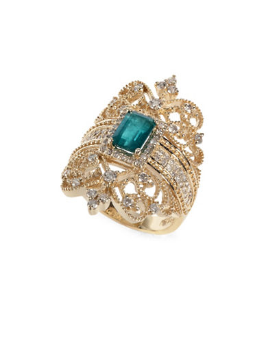 Effy 14K Yellow Gold Emerald Ring with 0.73 TCW Diamonds-EMERALD-7