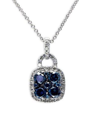 Effy 0.89 TCW Two-Tone Diamond Pendant, 14K White Gold Necklace-BLUE-One Size