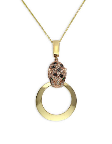 Effy 14K Yellow Gold 0.46TCW Diamond, Black Diamond, and Emerald Circle Pendant Necklace-YELLOW GOLD-One Size