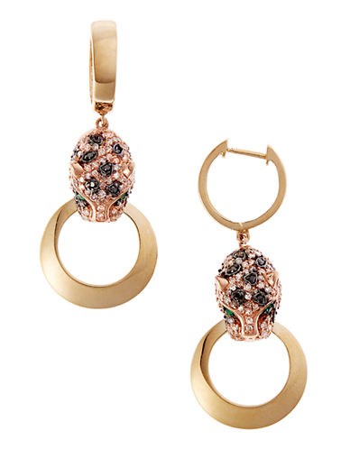 Effy White and Black Diamond Panther Earring in 14 Kt Yellow and Rose Gold-DIAMOND-One Size