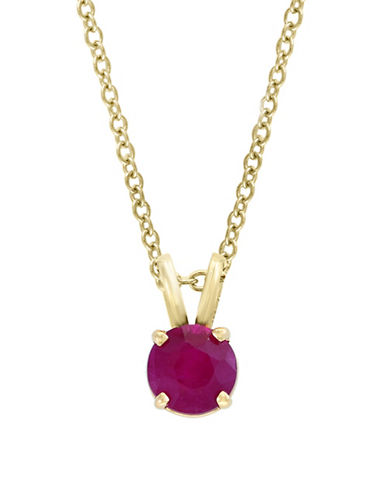 Effy 14K Yellow Gold Necklace with Natural Ruby Pendant-RED-One Size