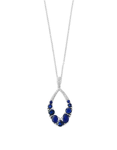 Effy 0.19 TCW Diamond and Sapphire 14K White Gold Pendant Necklace-SAPPHIRE-One Size