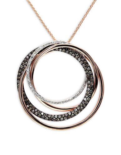 Effy 1.067 TCW Two-Tone Diamond, 14K Rose Gold Swirl Pendant Necklace-ROSE GOLD-One Size