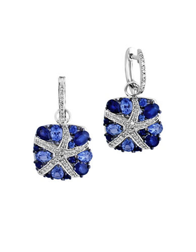Effy 0.28 TCW Diamond and Sapphire 14K White Gold Starfish Earrings-SAPPHIRE-One Size