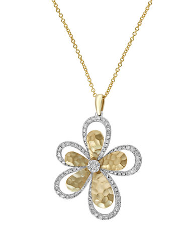 Effy 14K White and Yellow Gold Diamond Flower Pendant-TWO TONE-One Size