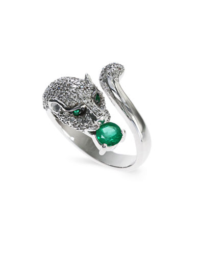 Effy 14K White Gold 0.77Ct. T.W. Diamond and 0.39Ct. Emerald Ring-GREEN-7