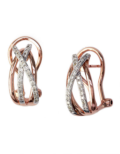 Effy 14K Rose And White Gold Diamond Earrings-ROSE GOLD-One Size