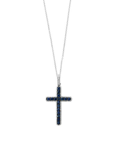 Effy 14K White Gold Sapphire and 0.24TCW Diamond Cross Pendant Necklace-SAPPHIRE-One Size