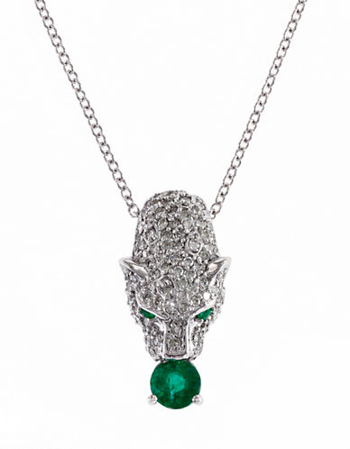 Effy 14K White Gold 0.44Ct. T.W. Diamond and 0.38Ct. Emerald Pendant-EMERALD-One Size