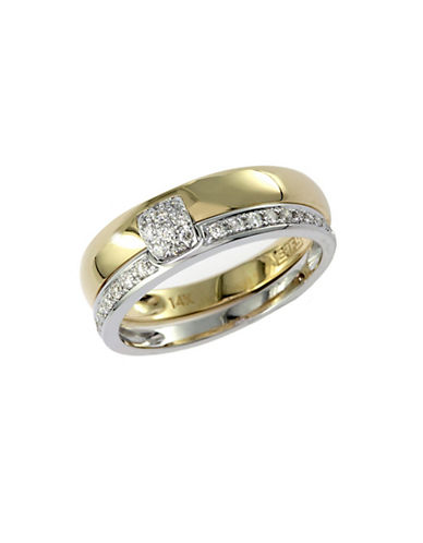 Effy 14K White And Yellow Gold Diamond Ring-DIAMOND-7