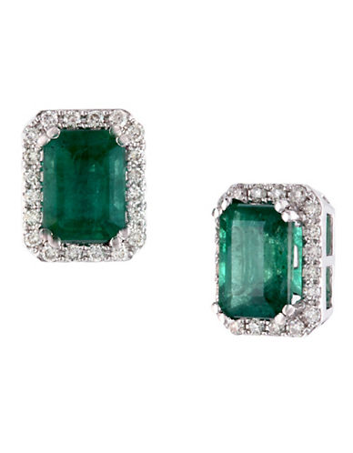 Effy 14K White Gold Diamond And Emerald Earrings-EMERALD-One Size