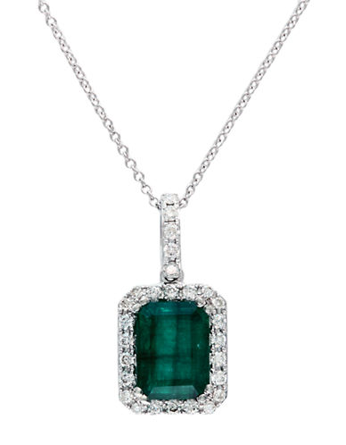 Effy 14K White Gold Diamond and Emerald Pendant-WHITE GOLD-One Size