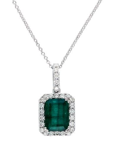 Effy 14K White Gold Diamond and Emerald Pendant-WHITE GOLD-One Size