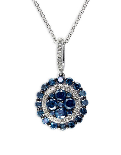 Effy 1.08 TCW Diamond, 14K White Gold Disc Pendant Necklace-BLUE-One Size