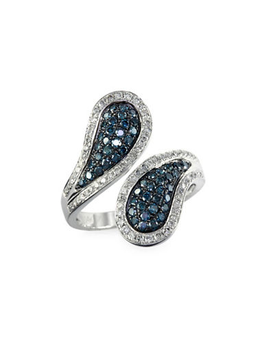 Effy 0.92 TCW Two-Tone Diamond, 14K White Gold Ring-BLUE-7