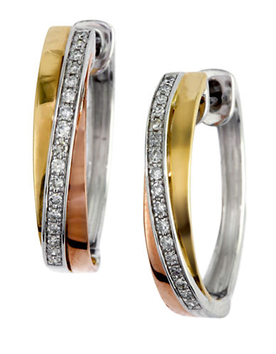 Effy 14K Tri-Colour Gold Diamond Earrings-TRI COLOUR GOLD-One Size