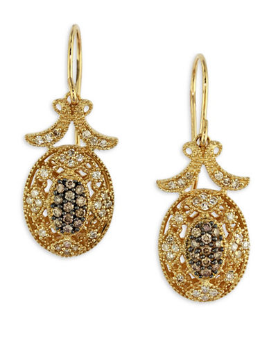 Effy 0.46 TCW Espresso Diamond, 14K Yellow Gold Filigree Earrings-GOLD-One Size
