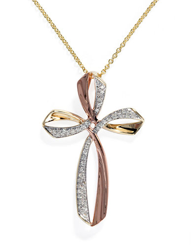 Effy 14K Yellow and Rose Gold Diamond Cross Pendant-TWO TONE-One Size