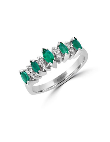 Effy 14K White Gold Ring with Emeralds and 0.12 Total Carat Weight Diamonds-EMERALD-7