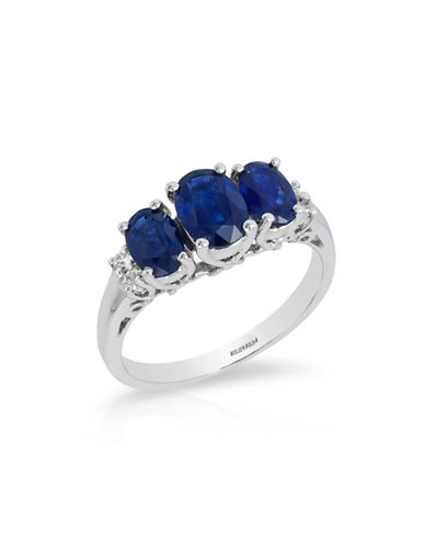 Effy 14k White Gold Sapphire Ring with 0.08 TCW Diamonds-SAPPHIRE-7