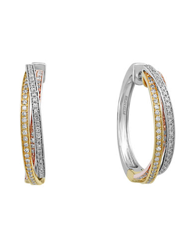 Effy 14K Tri-Color Diamond Twisted Hoop Earrings-TRI-COLOUR-One Size