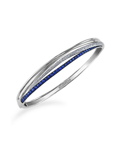 Effy 14K White Gold Natural Sapphire Bangle with 0.35TCW Diamonds-SAPPHIRE-One Size