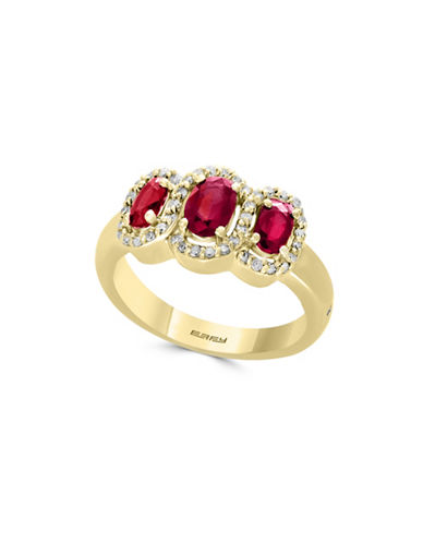 Effy 0.21 TCW Diamond, Natural Ruby & 14K Yellow Gold Ring-RED-7