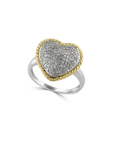 Effy 14K White and Yellow Gold 0.5 Total Carat Weight Diamond Heart Ring-DIAMOND-7