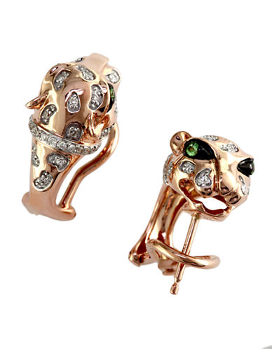Effy 14K Rose Gold Panther Earrings-DIAMOND-One Size