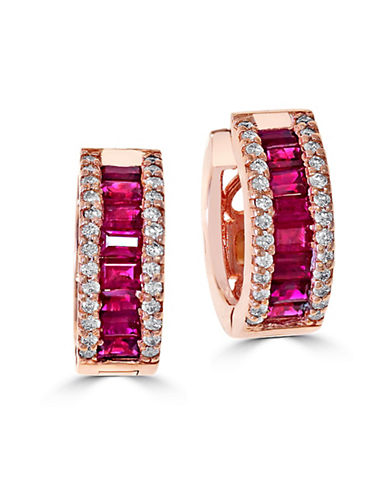 Effy 14K Rose Gold Natural Ruby Earrings with 0.38TCW Diamonds-RUBY-One Size