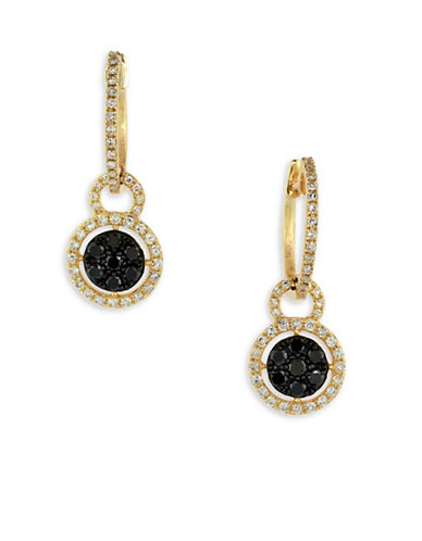 Effy 0.66 TCW Two-Tone Diamond, 14K Yellow Gold Disc Drop Earrings-TWO-TONE-One Size