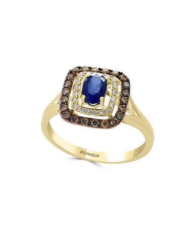 Effy 0.31 TCW Diamond, Brown Diamond, Natural Sapphire & 14K Yellow Gold Ring-BLUE-7