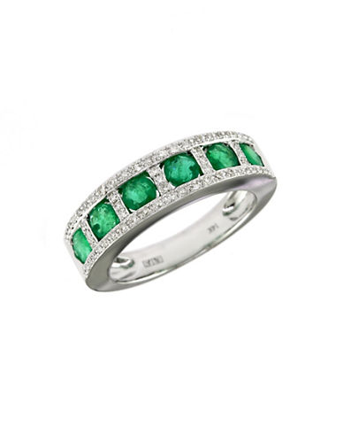 Effy 14K White Gold  Diamond And Emerald Ring-EMERALD-7