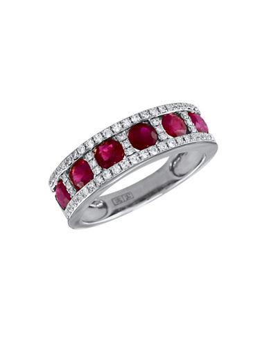 Effy 14K White Gold Diamond Ruby Ring-RUBY-7