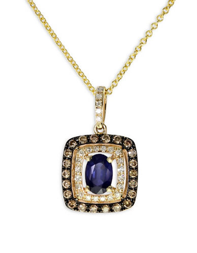Effy Sapphire, 0.32 TCW Diamond, 14K Yellow Gold Pendant Necklace-BLUE-One Size
