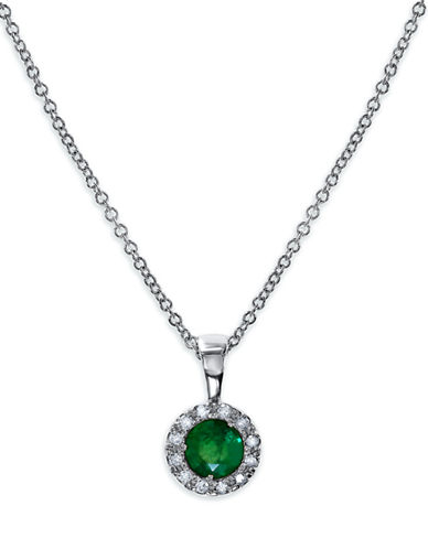 Effy Emerald And Diamond Pendant In 14 Kt White Gold-EMERALD-One Size