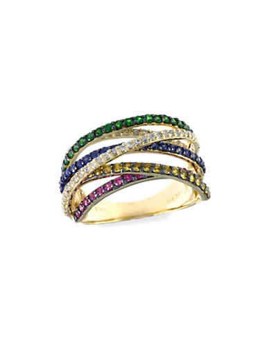 Effy 0.38 TCW Diamond, Multi-Sapphire, Tsavorite 14K Yellow Gold Ring-SAPPHIRE-7