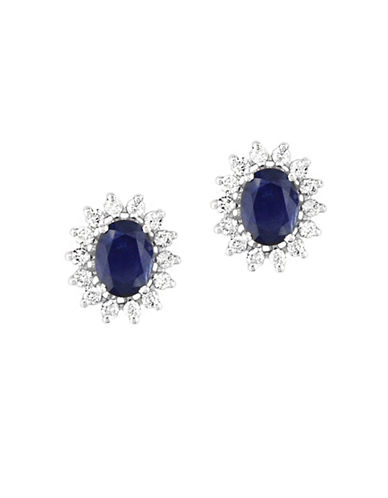 Effy 14K White Gold Natural Sapphire Earrings with 0.69TCW Diamonds-SAPPHIRE-One Size