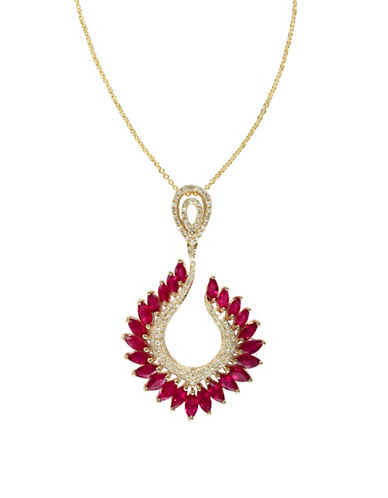 Effy 14K Yellow Gold Diamond Ruby Pendant-RUBY-One Size