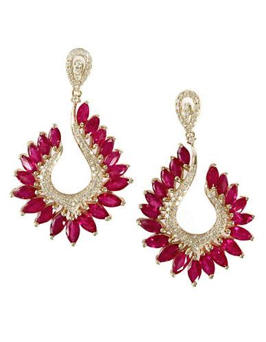Effy 14K Yellow Gold Diamond Ruby Earrings-RUBY-One Size