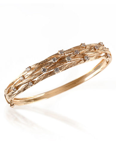 Effy 14k Yellow Gold Diamond Bangle-DIAMOND-One Size