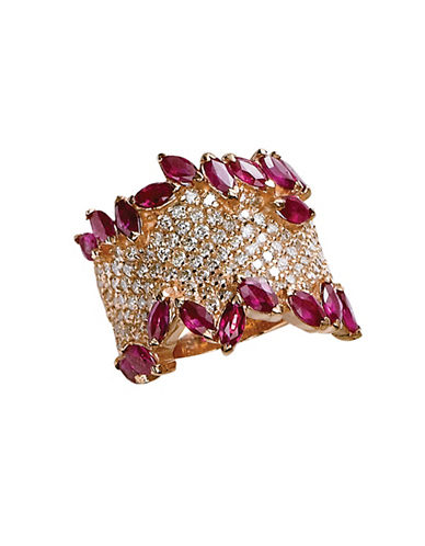 Effy 14K Rose Gold Diamond Pave And Ruby Ring-RUBY-7