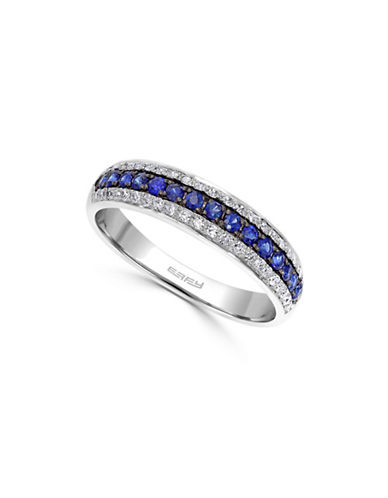 Effy 14K White Gold Ring with Sapphires and 0.17 TCW Diamonds-SAPPHIRE-7
