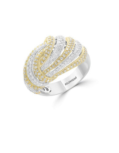Effy 14K White and Yellow Gold Studded Knot Ring  with 1.12 TCW Diamonds-YELLOW GOLD-7
