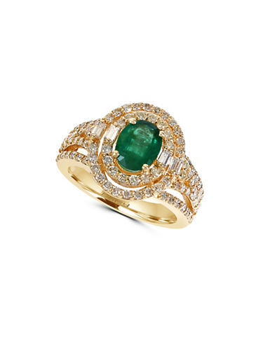 Effy 14K Yellow Gold Emerald Ring with 1.14 TCW Diamonds-EMERALD-7