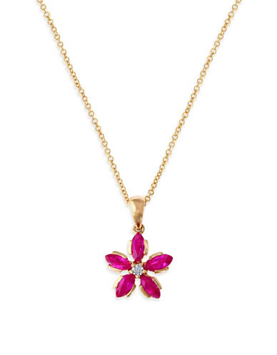 Effy 14K Rose Gold Diamond and Natural Ruby Pendant-RUBY-One Size