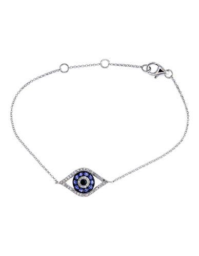 Effy 14K White Gold Diamond Black Diamond Sapphire Tennis Bracelet-SAPPHIRE-One Size