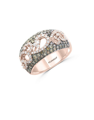 Effy 1.04 TCW White and Espresso Diamond 14K Rose Gold Studded Scroll Ring-ROSE GOLD-7