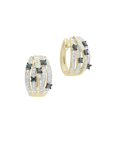 Effy 14K Yellow Gold Studded Huggie Hoop Earrings with 0.8 TCW White and Black Diamond-DIAMOND-One Size