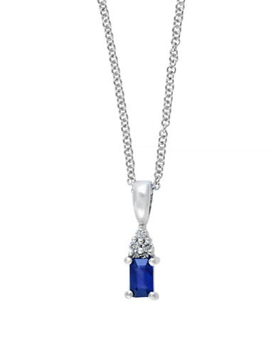 Effy 14K White Gold Sapphire and Diamond Pendant Necklace-SAPPHIRE-One Size